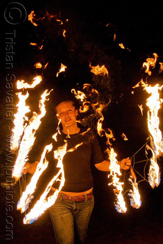 woman with fire fans (san francisco), fire dancer, fire dancing, fire fans, fire performer, fire spinning, flames, night, red hair, redhead, sam, spinning fire, woman