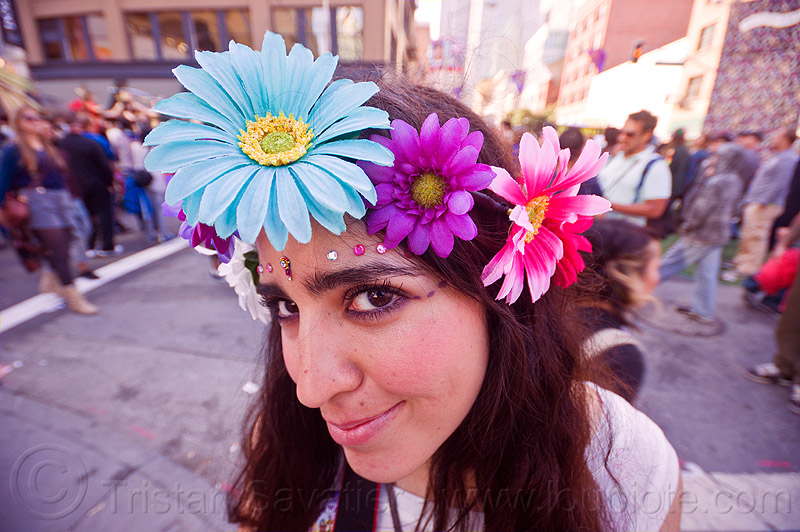 flower headdress, bindis, flower headdress, how weird festival, woman