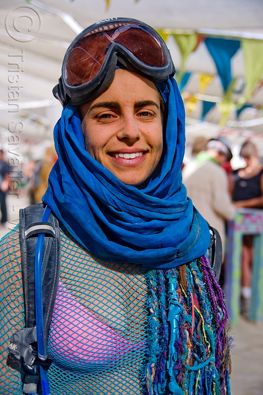 woman with goggles at the center camp cafe - burning man 2009, blue, people