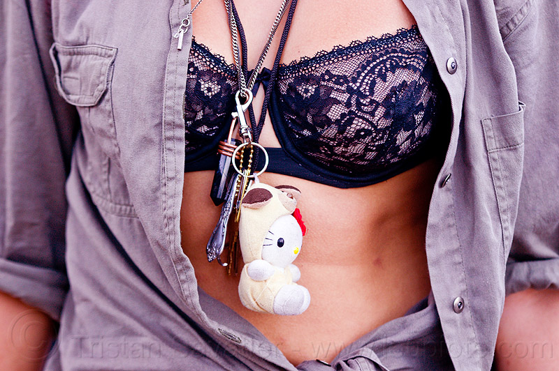 lace bra, chest, folsom street fair, necklaces, open shirt, people, woman