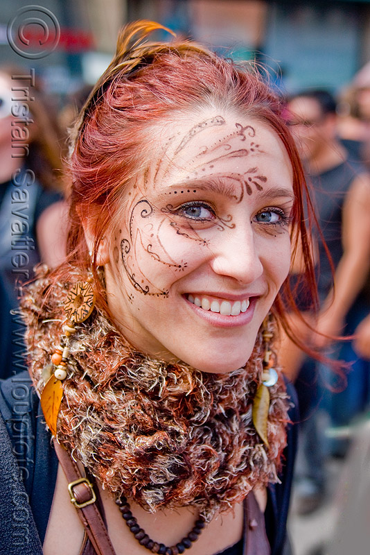 woman with mehndi-like face paint - makeup - Éline (san francisco), face painting, facepaint, makeup, red hair, redhead, woman
