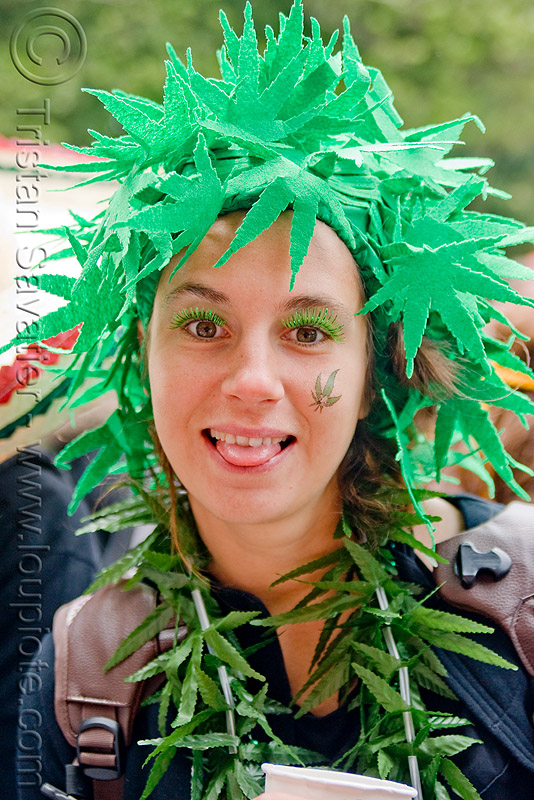 cannabis costume, bay to breakers, fake leaves, fake plant, festival, footrace, green, headdress, hemp, necklace, people, street party, woman