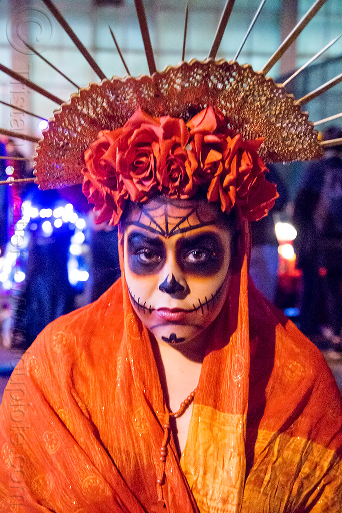 woman with red roses crown and skull makeup - dia de los muertos, crown, day of the dead, dia de los muertos, face painting, facepaint, flower headdress, flowers, halloween, night, orange color, roses, sugar skull makeup, woman