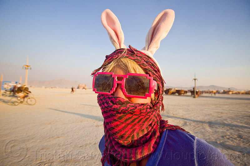 woman with red scarf and bunny ears - burning man 2013, bunny ears, bunny march, burning man, mask, playa, red sunglasses, scarf, woman
