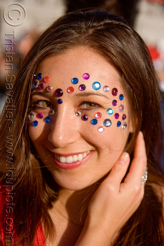 woman with rhinestones makeup- bindis, bindis, catherine, lovevolution, rhinestones, woman