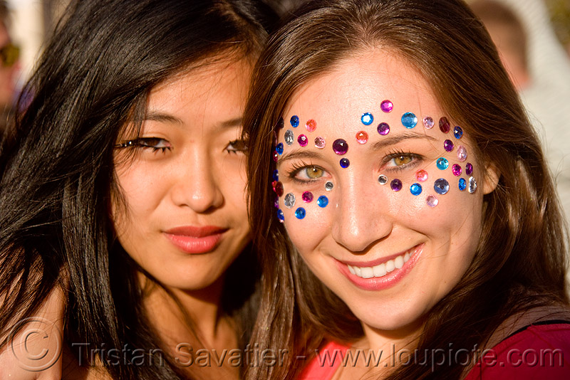 woman with rhinestones makeup - bindis, asian woman, bindis, catherine, lovevolution, rhinestones, women