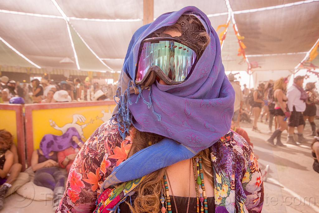 woman with scarf and mirror goggles - burning man 2015, burning man, center camp, goggles, necklaces, reflection, scarf, woman