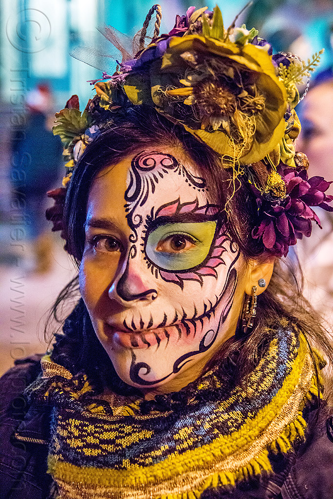 woman with sugar skull half-face makeup - dia de los muertos, day of the dead, face painting, facepaint, half face, halloween, headdress, night, people, scarf, skull makeup, sugar skull makeup