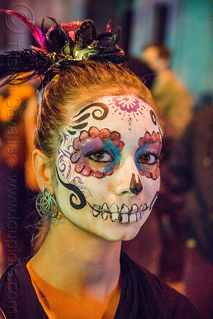 woman with sugar skull makeup - dia de los muertos, day of the dead, earrings, face painting, facepaint, halloween, night, people, teeth, teeth makeup