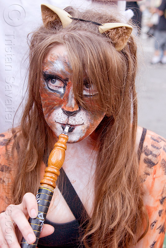 woman with tiger face paint smoking hookah, cat ears headband, hookah, how weird festival, pipe, rachel, smoking, tiger facepaint, woman