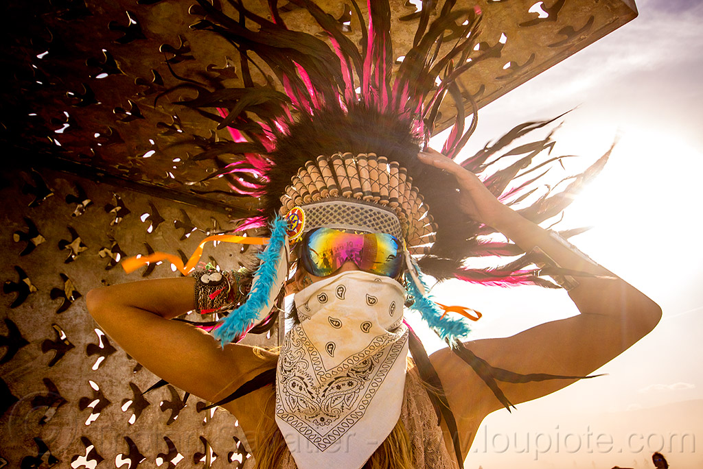 woman with tribal feather headdress - burning man 2015, bandana, burning man, dust storm, feather headdress, feathers, pia, white out, windy, woman