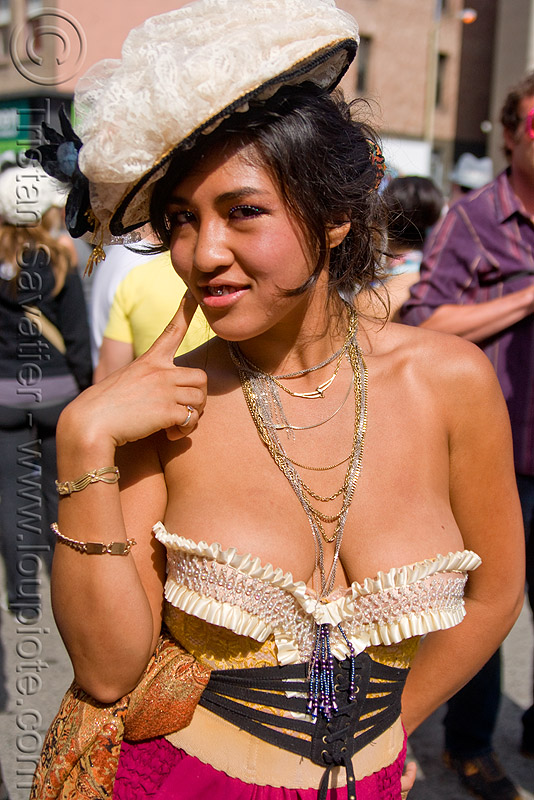 woman with victorian dress - alisha (san francisco), alisha, cleavage, corset, hat, how weird festival, necklaces, victorian dress, woman