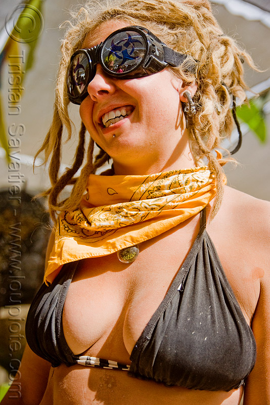 woman with yellow bandana and goggles - burning man 2009, blonde, people