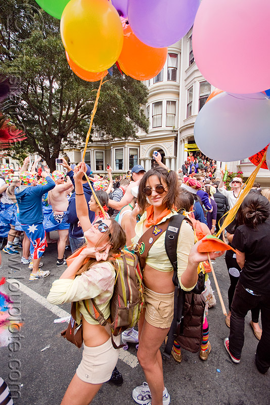 women dancing with party balloons - street party, bay to breakers, costume, crowd, dancing, festival, footrace, party balloons, street party, women
