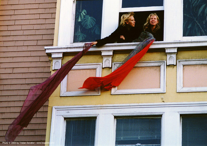 women holdind scarves at a window - gay pride (san francisco), scarf, scarves, window, women