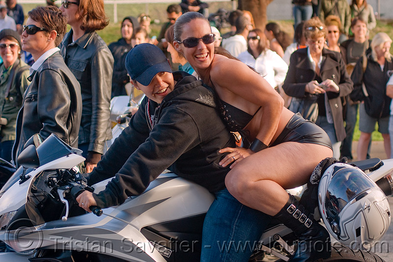 women on honda CDR motorcycle, dolores park, dykes on bikes, full face helmet, gay pride, gay pride festival, motorbike, nina, parade, people, rider, riding