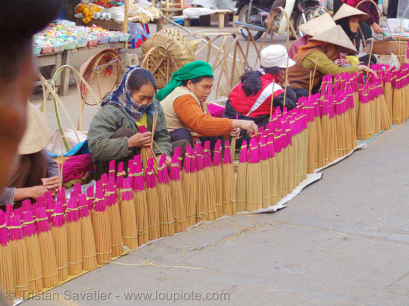 women selling incense sticks - vietnam, asian woman, asian women, incense, lang sơn, old, stall, street market, street seller, vietnam