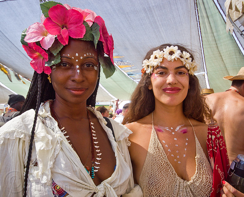 women with flower headdress - burning man 2013, burning man, flower headdress, woman