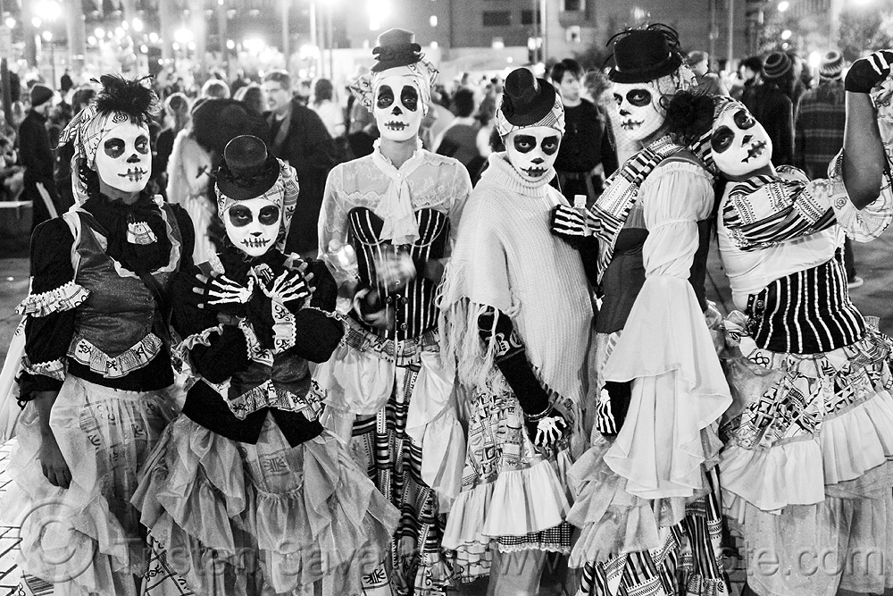 women with skull makeup, adtc, ampey!, ase dance theater collective, costume, dancers, dia de los muertos, dress, dresses, embarcadero, face painting, facepaint, halloween, hats, journey to the end of the night, justin herman plaza, people, performance, skull face paint, skull face painting
