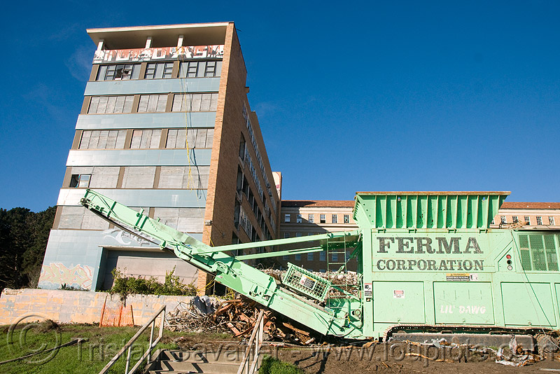 wood shredder with magnetic separator - building demolition, abandoned building, abandoned hospital, at work, ferma corporation, machinery, presidio hospital, presidio landmark apartments, working