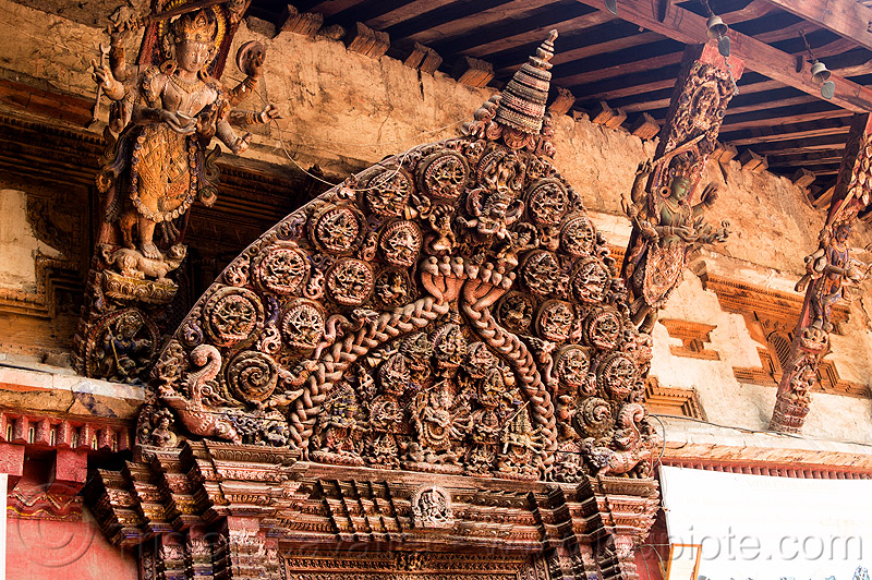 wooden carving decoration - royal palace gate - bhaktapur durbar square (nepal), bhaktapur, braided snakes, durbar square, gate, hinduism, intricate, naga snake, nāga snake, snake braid, wood carving, wooden