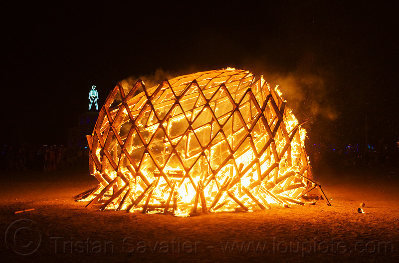 wooden egg burning - burning man 2012, c.o.r.e., circle of regional effigies, collapsed, core project, fire, flames, night, opalessence, the man, wooden frame