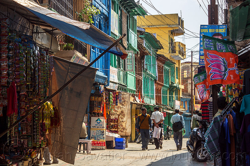 wooden houses painted in bright colors - almora (india), almora bazar, houses, market, men, painted, shops, stores, street, walking