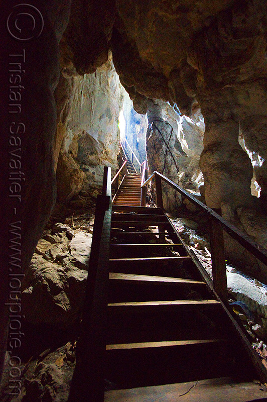 wooden stairs in natural cave, backlight, bau, caving, crooked, fairy cave, spelunking