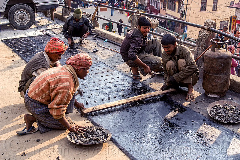 workers repaving street - darjeeling (india), darjeeling, gravel, groundwork, hot asphalt, hot bitumen, macadam, men, pavement, paving, road construction, roadworks, screed board, stones, street, workers, working