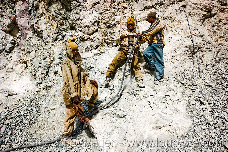 workers using air drill - road construction - ladakh (india), drilling and blasting, fuses, fuzes, groundwork, india, jackhammer, ladakh, pneumatic drill, road construction, roadworks, rock, workers, working