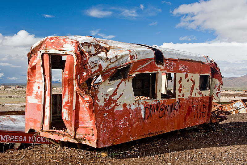 wrecked train car - train cemetery - uyuni (bolivia), accidented, bolivia, enfe, fca, railroad, railway, rusty, scrapyard, train car, train cemetery, train graveyard, train junkyard, uyuni, wreck, wrecked