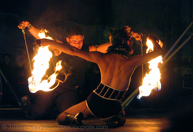 xeno's fire dancers - burning man fire arts exposition 2006, burning man fire arts exposition, fire dancer, fire dancing, fire performer, fire poi, fire spinning, flames, night, xeno, xenodrome