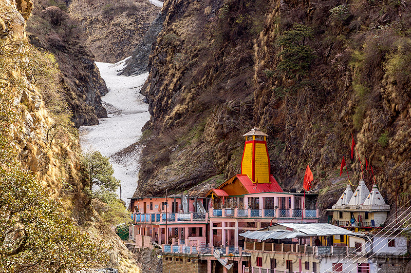 yamunotri dham (india), hindu pilgrimage, hindu temple, hinduism, india, mountains, snow, valley, yamunotri