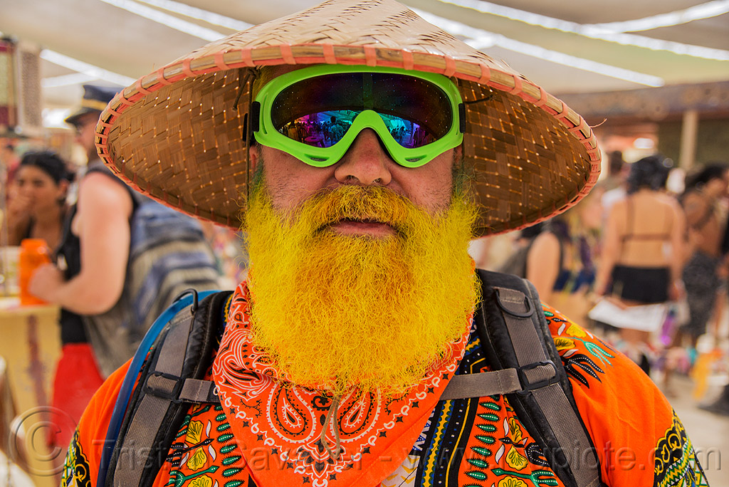 yellow beard - burning man 2016, burning man, center camp, conical hat, goggles, straw hat, yellow beard