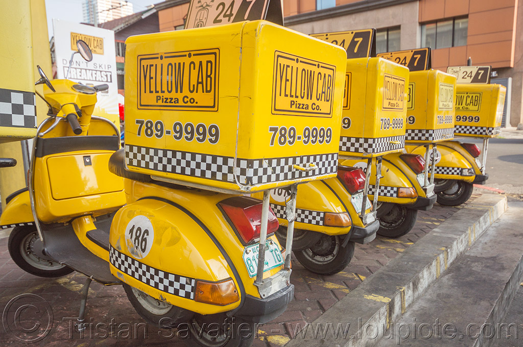 yellow cab pizza co vespa scooters - manila (philippines), manila, philippines, pizza delivery, scooters, street, vespas, yellow cab pizza co