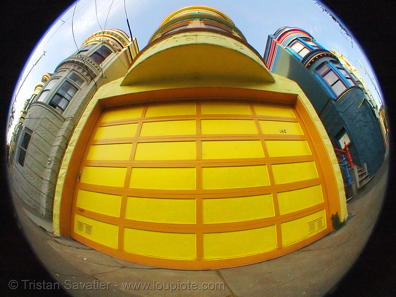 garage door, fisheye, garage door, yellow