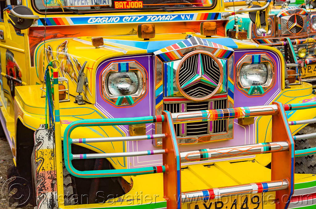 yellow jeepney - front grill (philippines), baguio, colorful, decorated, front grill, jeepney, painted, philippines, truck