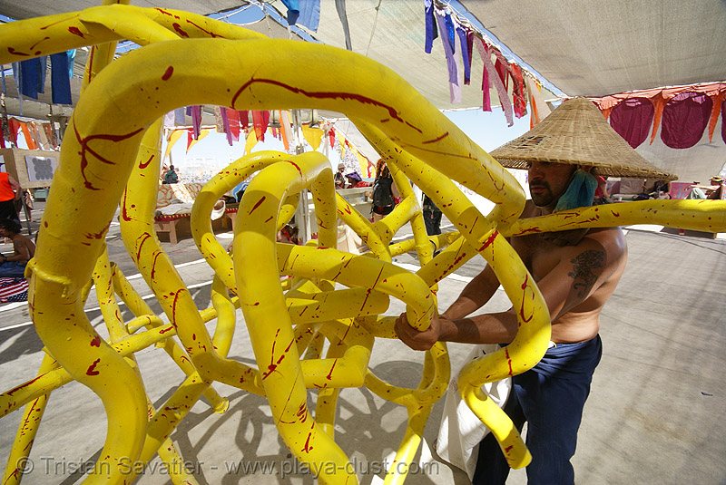 yellow maze sculpture - burning man 2007, art installation, burning man, sculpture, yellow pipes