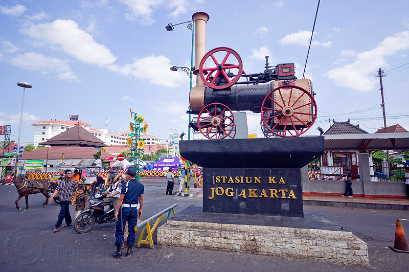 yogyakarta train station, java, jogja, jogjakarta, marshall, monument, people, portable engine, portable steam engine, railroad, railway, steam train engine, street