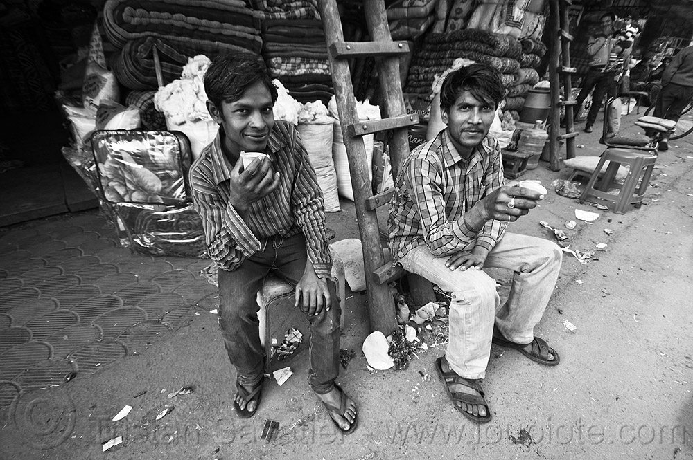 young men drinking chai, chai, delhi, drinking, men, milk tea, paharganj, sitting, spice tea, store, two, wooden ladder