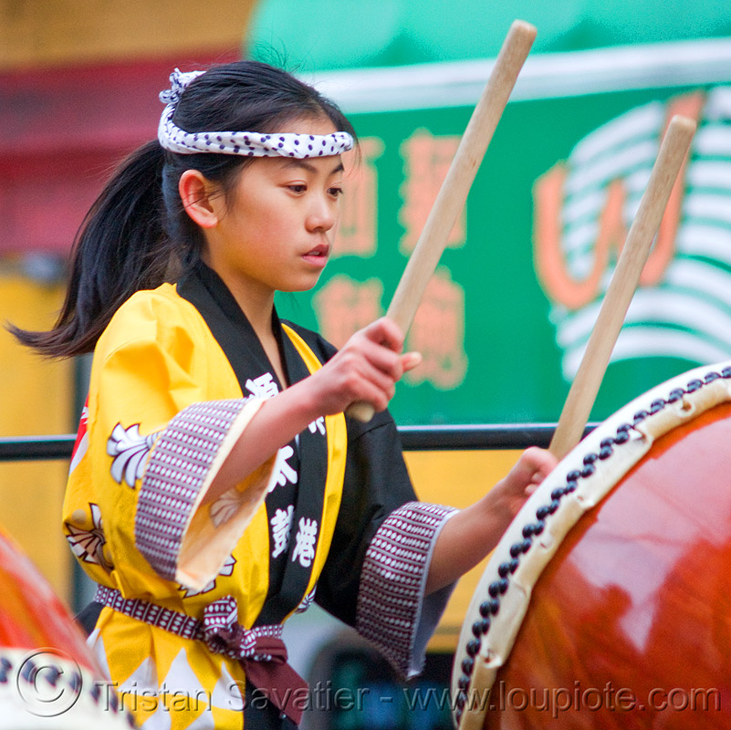 young taiko drummer girl, chinese new year, drummer, drumming, drumsticks, genryu arts, girl, japanese drums, lunar new year, taiko dojo