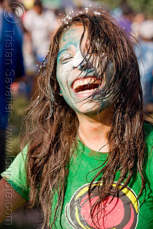young woman covered with colored powder during carnival in jujuy capital (argentina) - naty jael, andean carnival, argentina, blue paint, face painting, facepaint, jael, jujuy capital, natalia, naty, noroeste argentino, san salvador de jujuy, woman