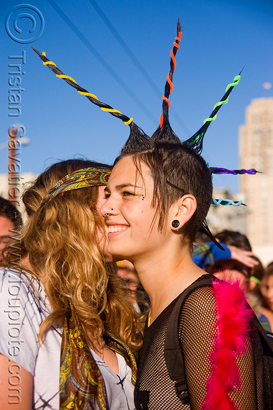 spiky mohawk, festival, love fest, lovevolution, mohawk hair, people, spikes, women, zoey