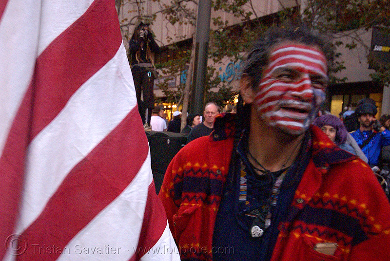 zachary running wolf - native american at halloween critical mass (san francisco), american flag, american indian, amerindian, face painting, facepaint, first nations, flag makeup, halloween critical mass, man, native american, us flag, zachary running wolf
