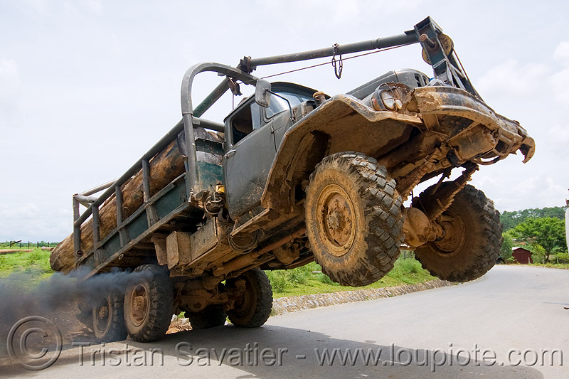 ZIL-131 - ЗиЛ-131 - truck wheelie - logging truck - 6x6, 6x6, all-terrain, deforestation, log truck, logging truck, lorry, phonsavan, road, smoke, smoking, tree logging, tree logs, truck wheelie, wheely, zavod imeni likhacheva, zil-131, завод имени лихачёва, зил-131