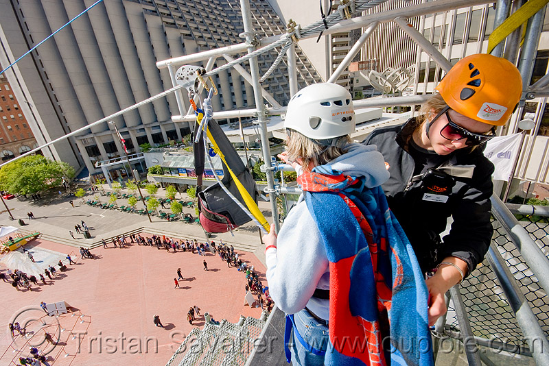 zip-line over san francisco, adventure, cable line, cables, climbing helmet, embarcadero, extreme sport, gear, hanging, harness, justin herman plaza, mountaineering, nat, people, steel cable, tower, trolley, ty, tyrolienne, urban, zip line, zip wire, ziptrek