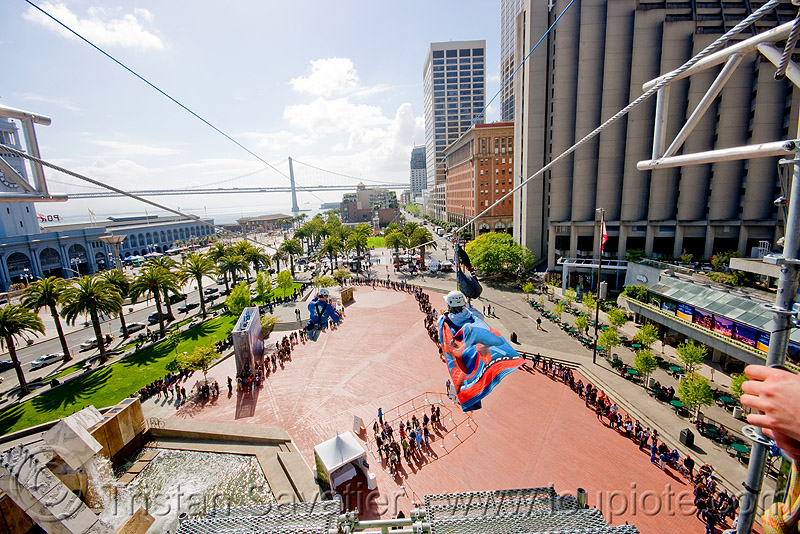 zip-line over san francisco, adventure, cable line, cables, climbing helmet, embarcadero, extreme sport, gear, hanging, harness, justin herman plaza, mountaineering, people, steel cable, tower, trolley, ty, tyrolienne, urban, zip line, zip wire, ziptrek