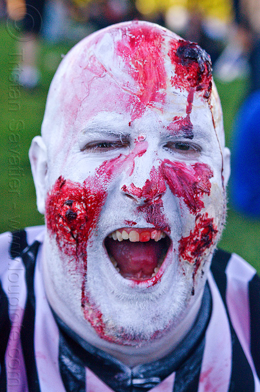 zombie referee, blood, bloody, dolores park, halloween, holloween makeup, man, open mouth, red, referee, teeth, white, zombie makeup