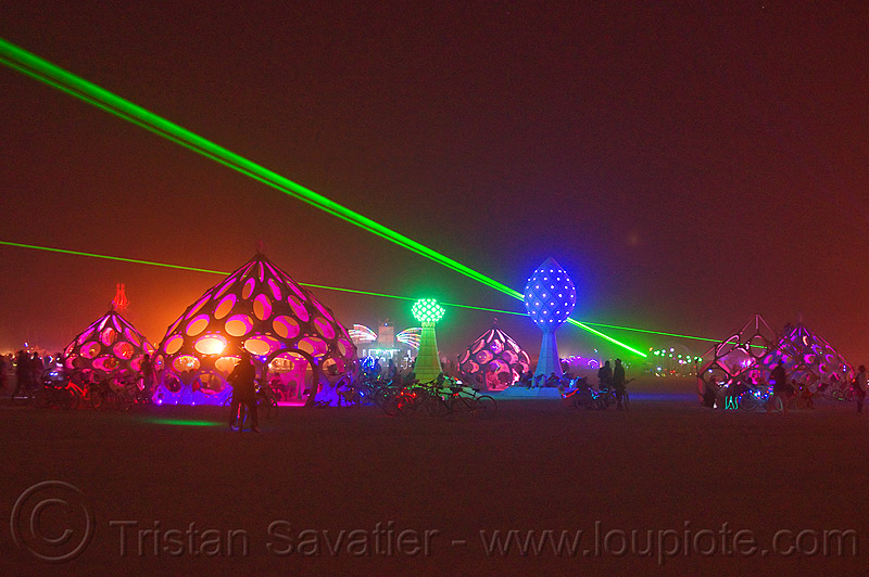 zonotopia at night - burning man 2012, green laser, zomes