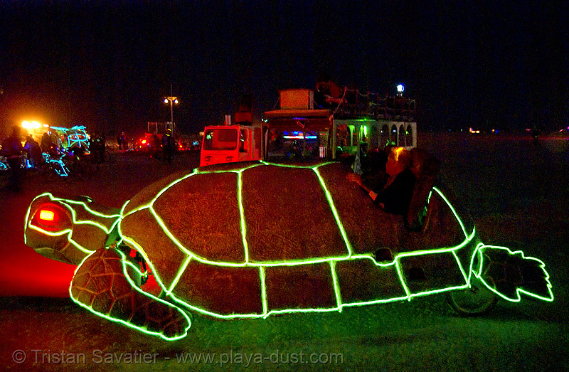 """zoom zoom"" the turtle - burning man 2007, art car, burning man, glowing, mutant vehicles, night, turtle, zoom zoom"